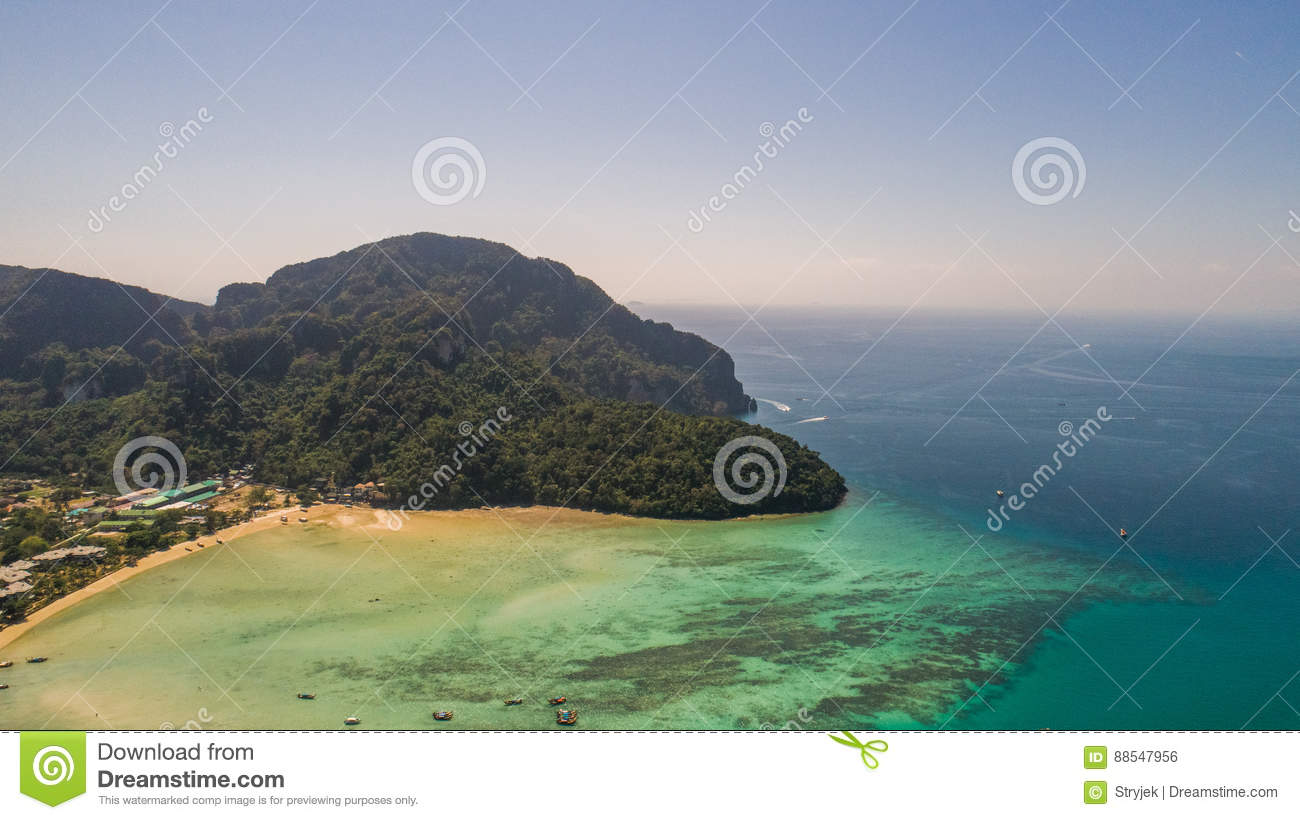 Download Aerial Drone Photo Of Nothern West Part Of Iconic Tropical Phi Phi Island Stock Photo - Image of paradise, part: 88547956