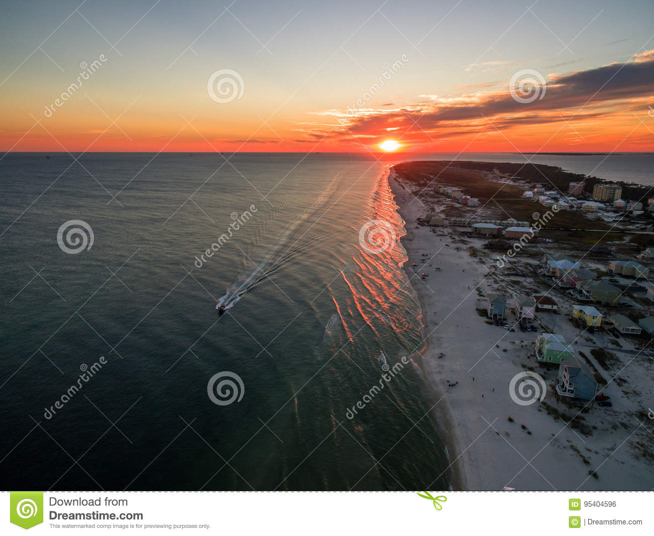 Aerial Drone Sunset Photo - Ocean & Beaches of Gulf Shores / Fort Morgan Alabama