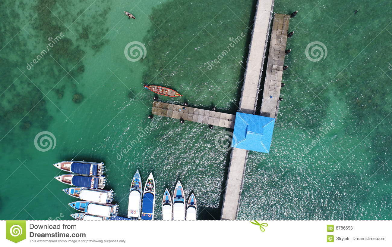 Aerial drone top view photo of pier on Rawai beach in Phuket