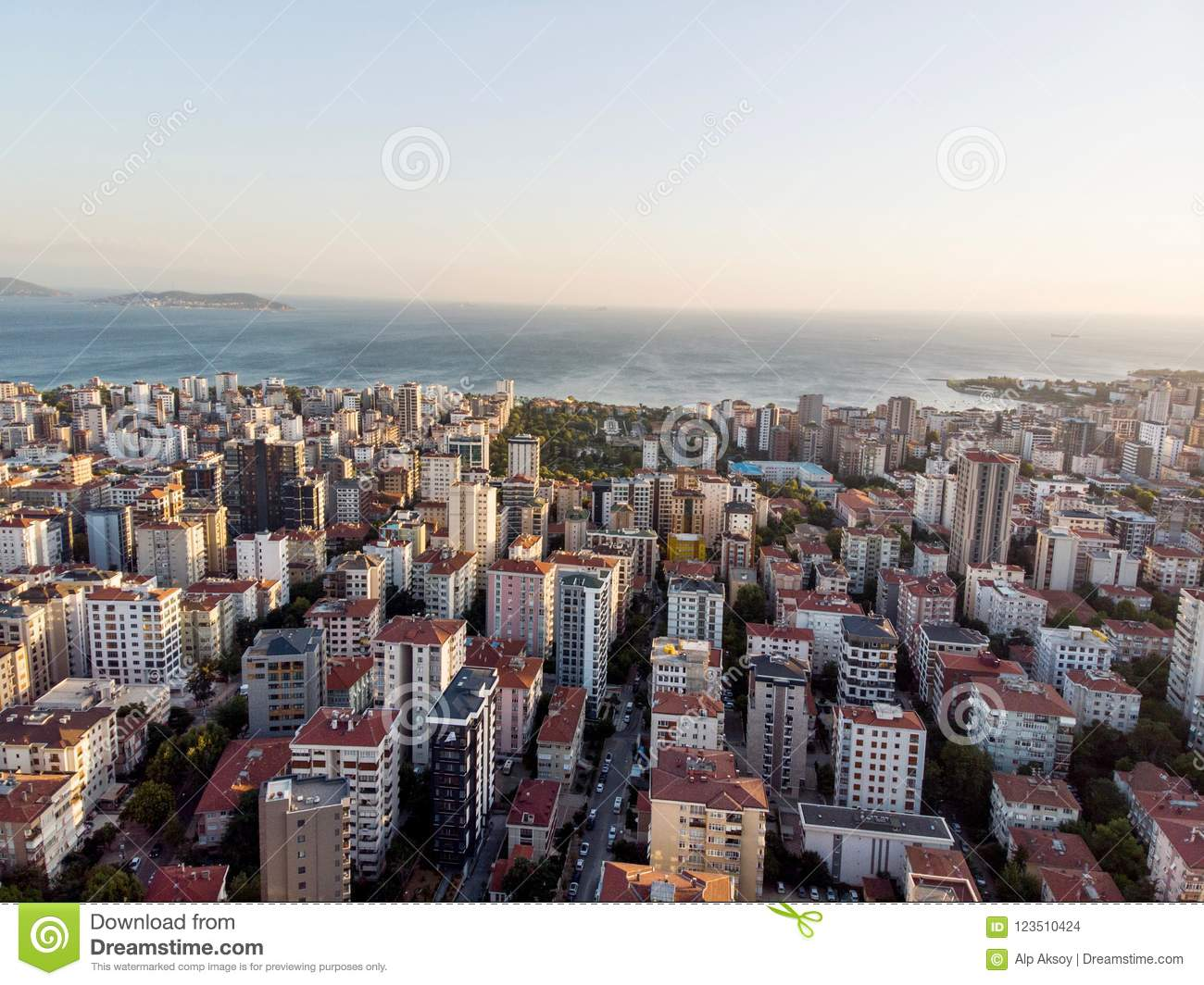 aerial drone view of city apartment buildings in goztepe istanbul