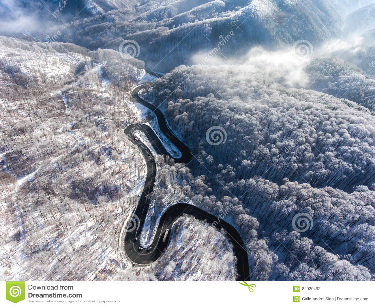 Aerial Drone View Of A Curved Winding Road Through The Forest Hi Stock Photography