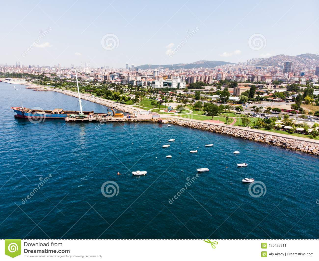 Aerial Drone View Of Kartal Istanbul City Seaside With Garbage Scow