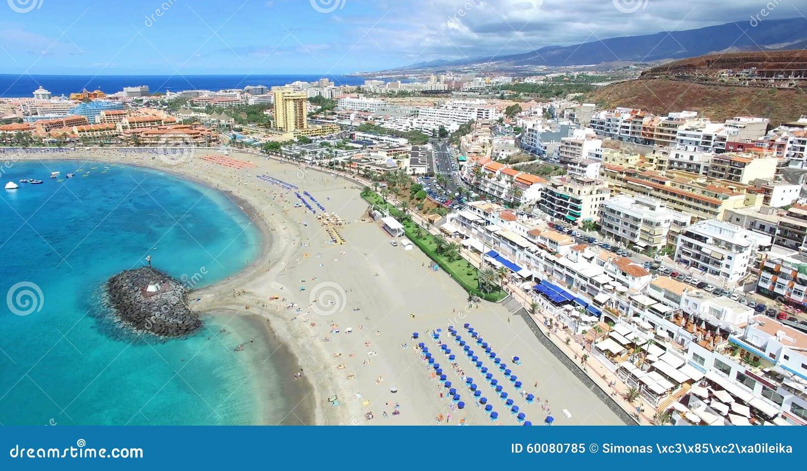 Aerial Flight Over Los Cristianos Beach Playa De Las America