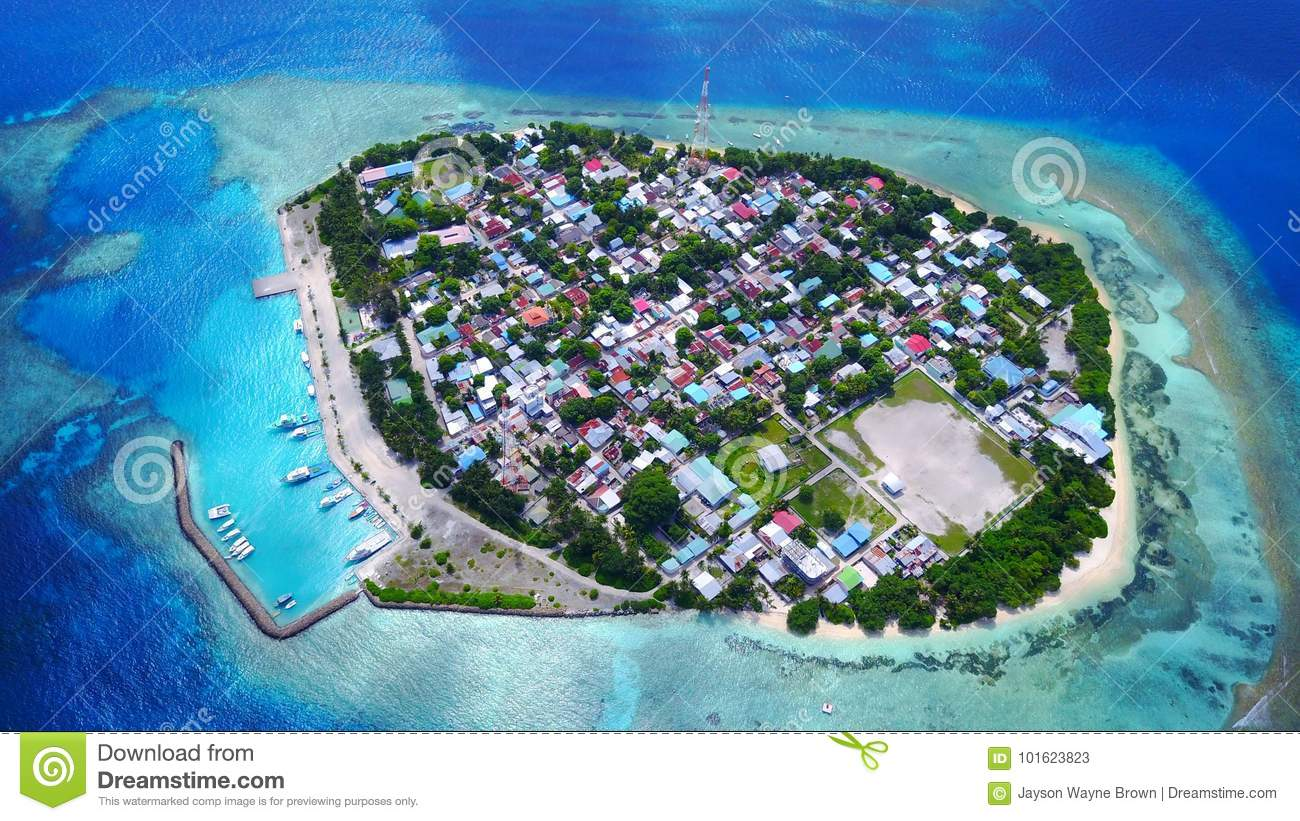 Download Aerial Flying Drone View Of Rasdhoo In Maldives White Sandy Beach On Sunny Tropical Paradise Island With Aqua Stock Image - Image of paradise, beautiful: 101623823