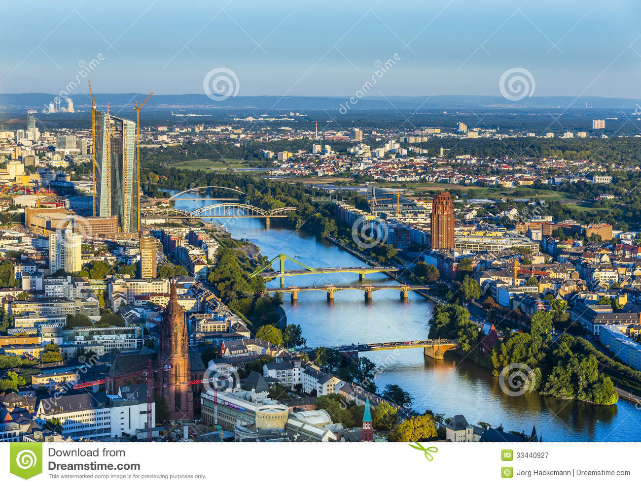 Aerial Of Frankfurt With ECB Editorial Photography