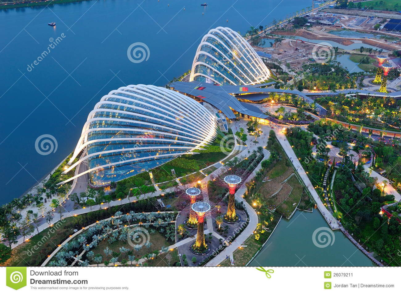 Aerial Of The Gardens By The Bay Conservatories Editorial Photo