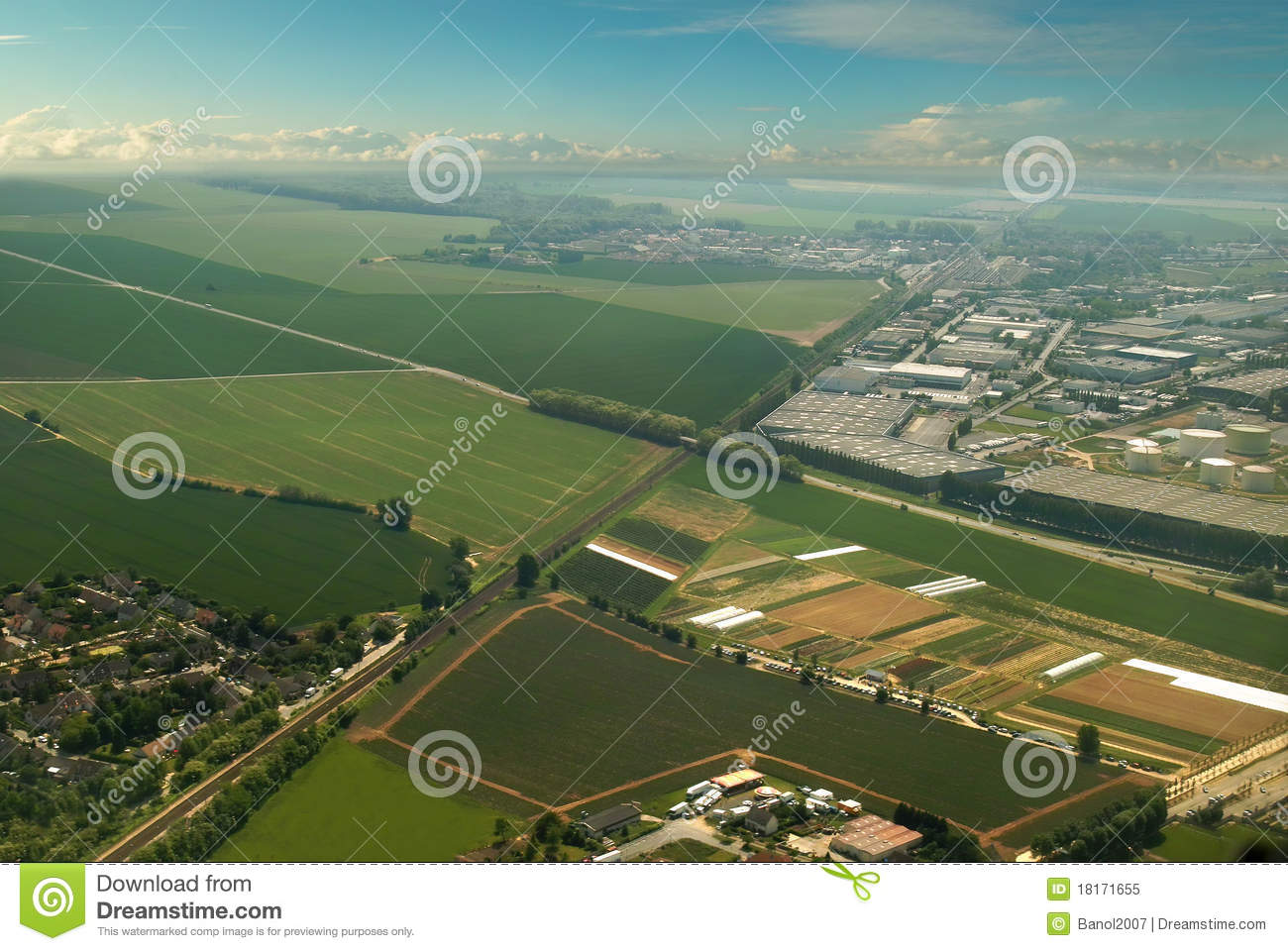 Download Aerial Of Green Countryside & Industrial City. Stock Image - Image of ecology, bright: 18171655
