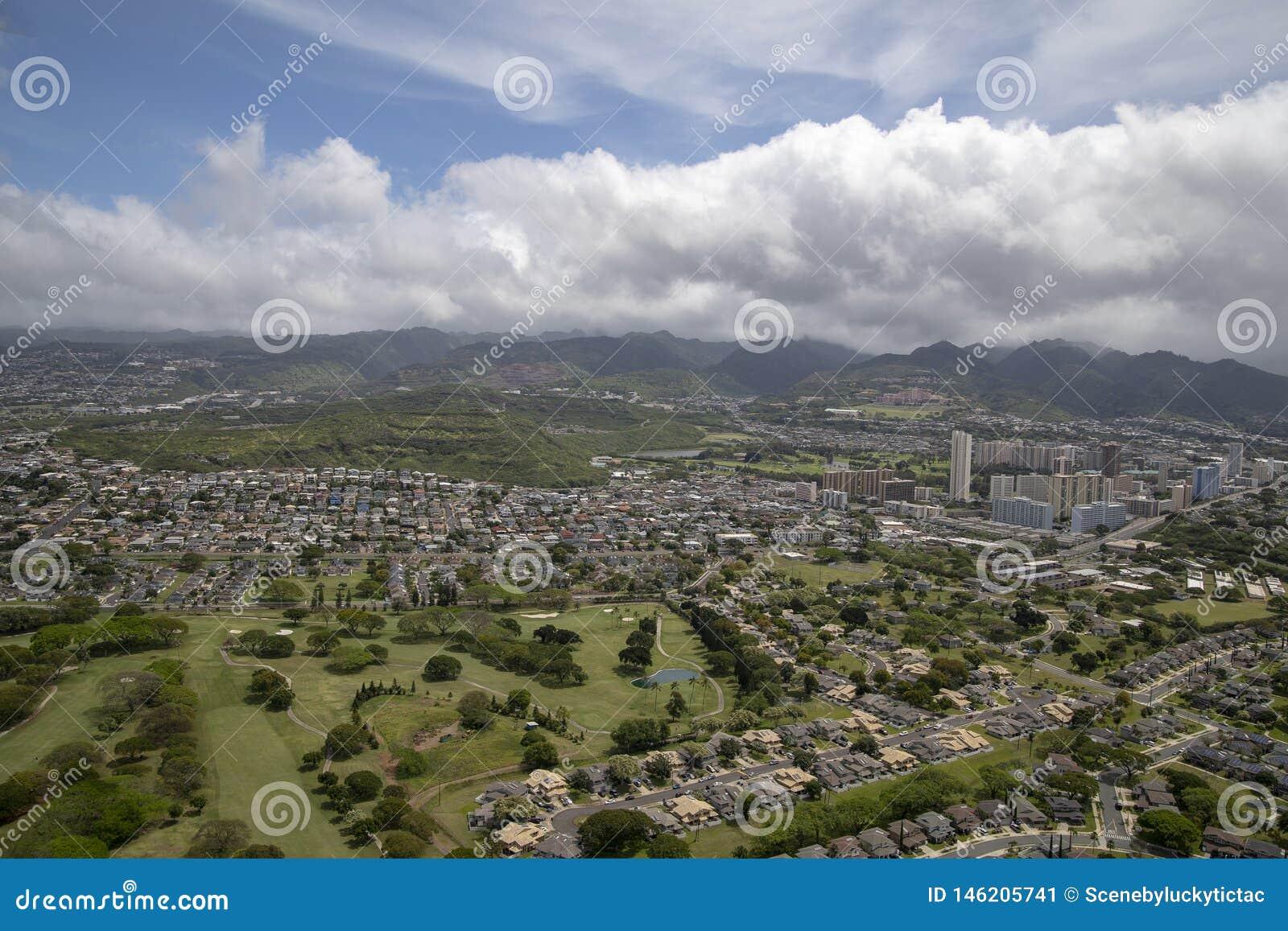 Aerial of Honolulu Oahu Hawaii