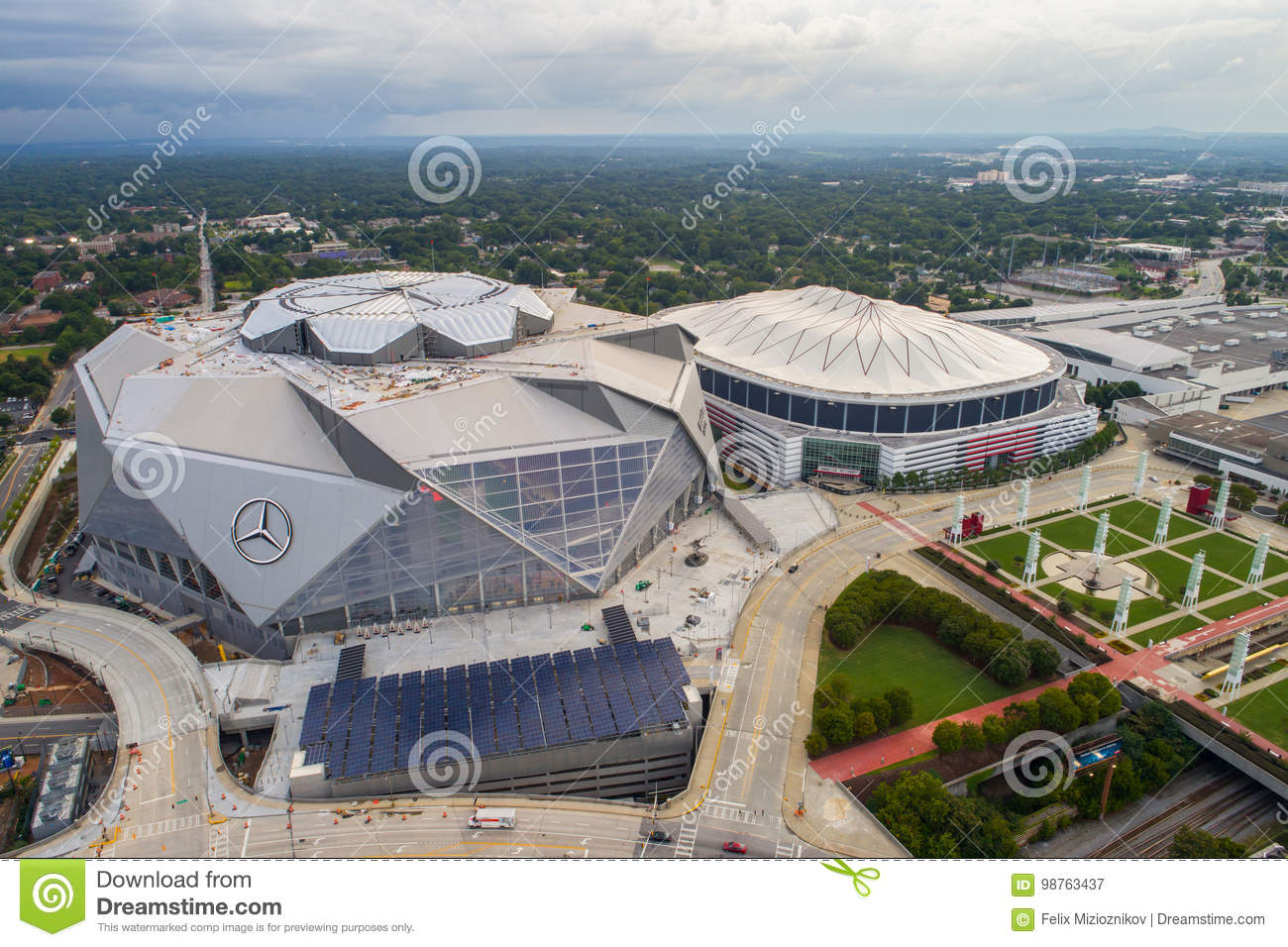 Aerial image atlanta georgia dome and mercedes benz for Atlanta ga mercedes benz stadium