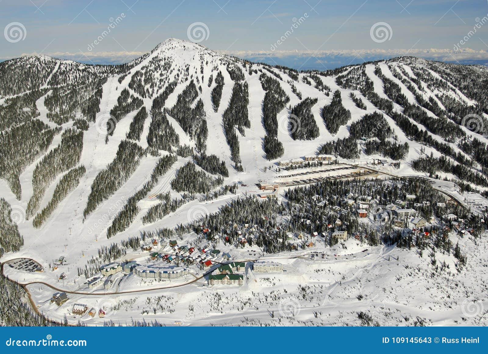 aerial image of mt. washington alpine ski resort, vancouver island