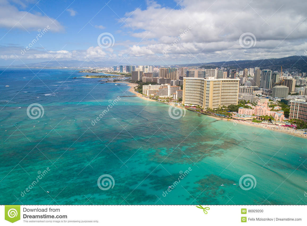 Aerial Image Waikiki Beach Stock Photo Image Of Water