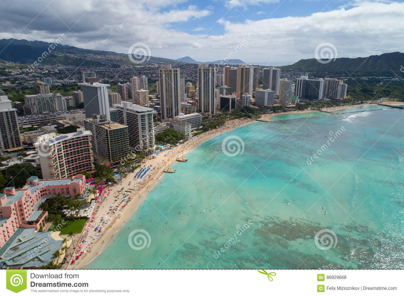 Aerial Image Waikiki Beach Hawaii Stock Photo Image Of