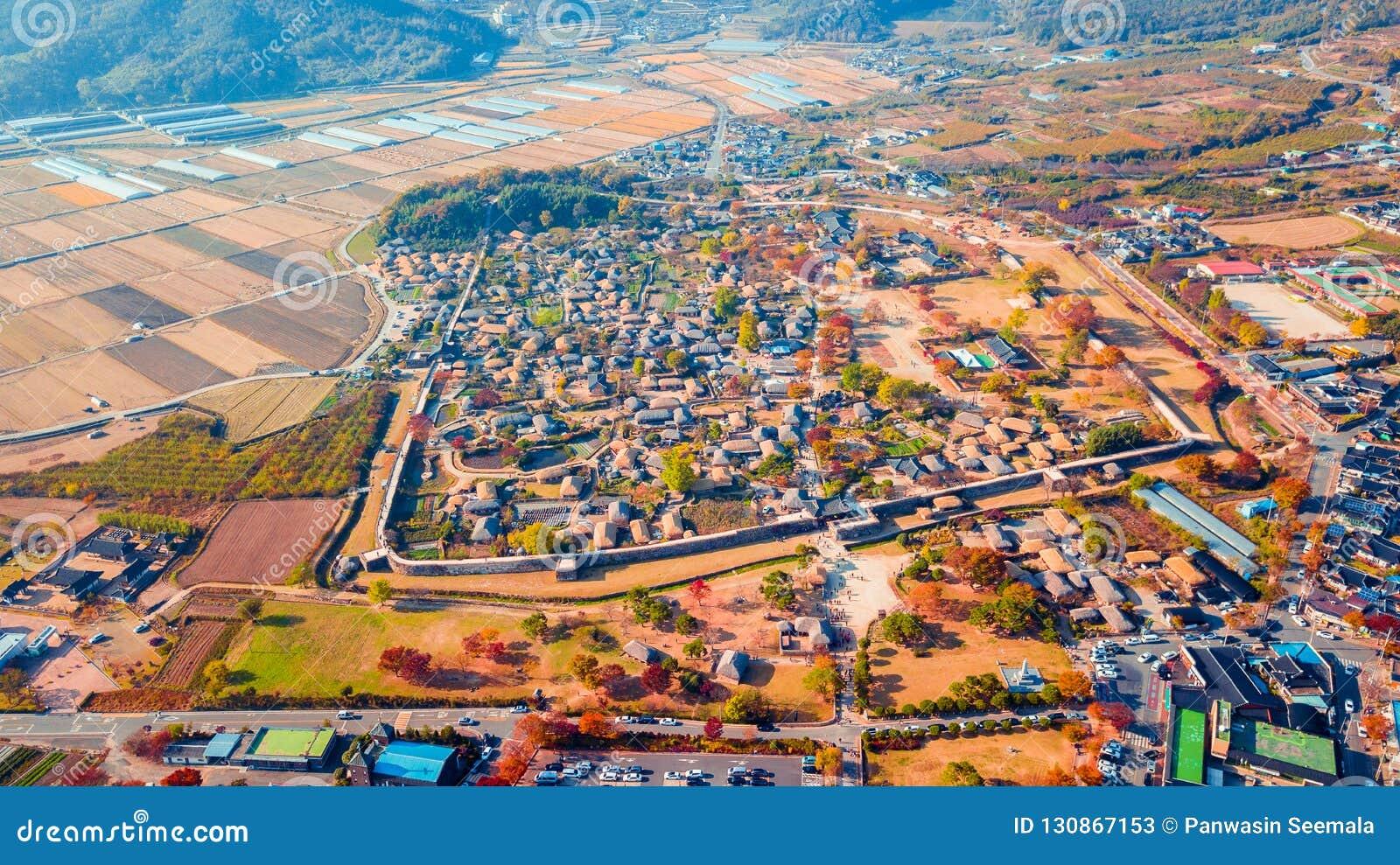 Aerial landscape of hanok village in Jeonju, South Korea.