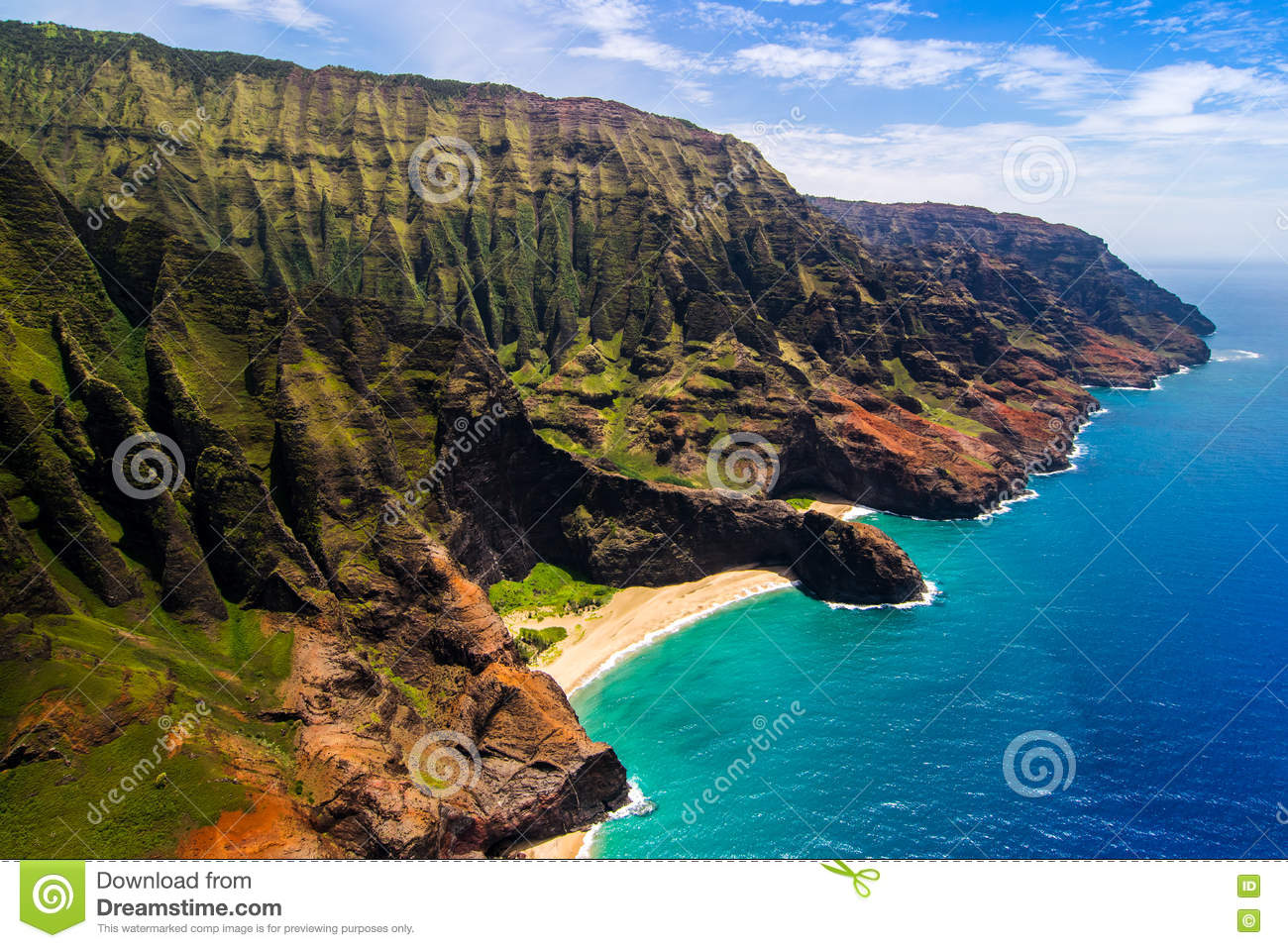 Aerial landscape view of Honopu Arch at Na Pali coastline, Kauai