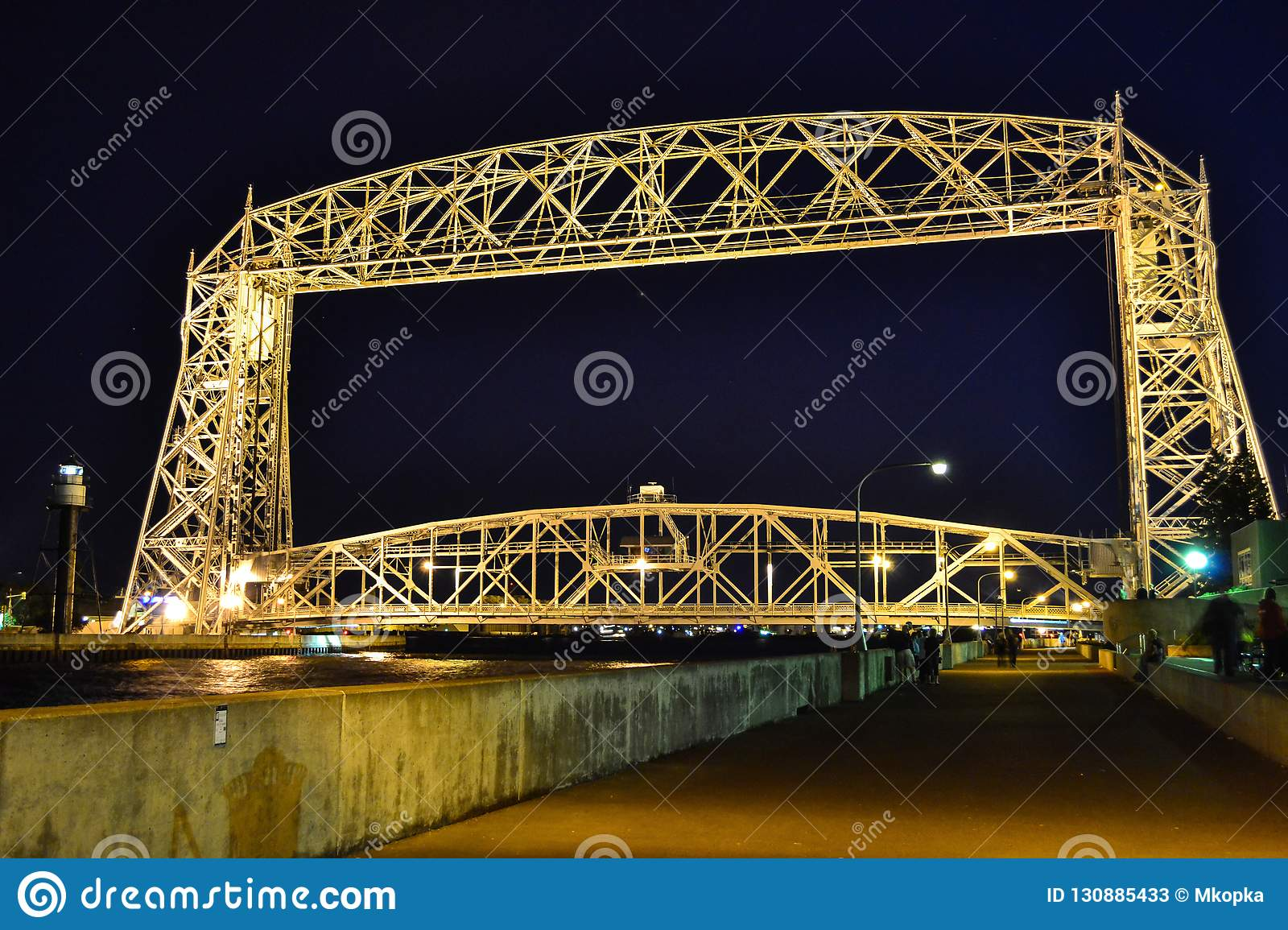 Aerial Lift Bridge In Duluth Minnesota Over Lake Superior Stock
