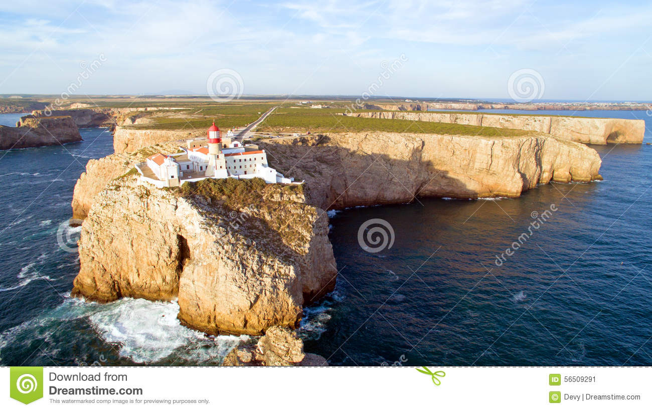 aerial from the lighthouse of cabo sao vicente sagres portugal stock photo image 56509291. Black Bedroom Furniture Sets. Home Design Ideas