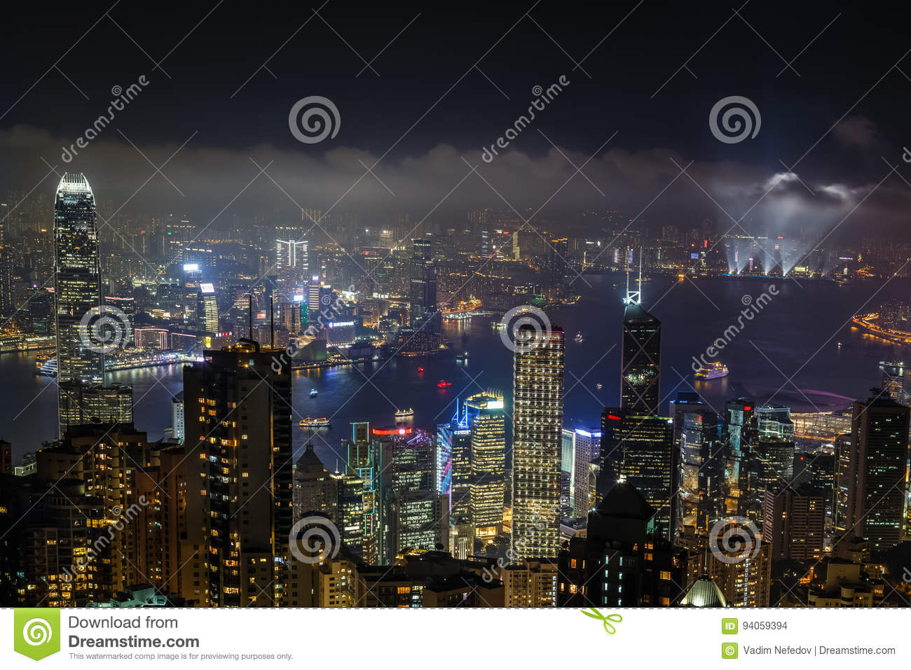 Aerial Night View From Victoria Peak To Kowloon Bay And
