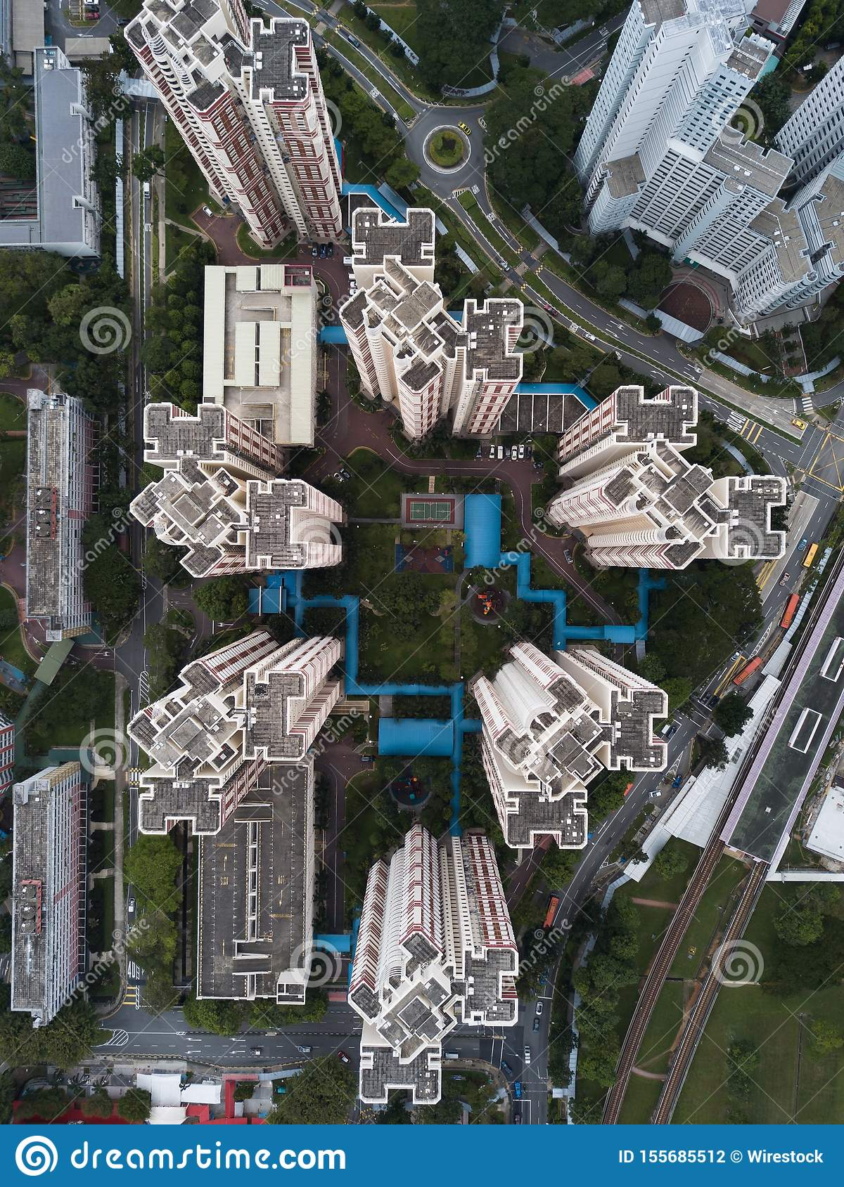 Aerial overhead shot of urban modern business architecture