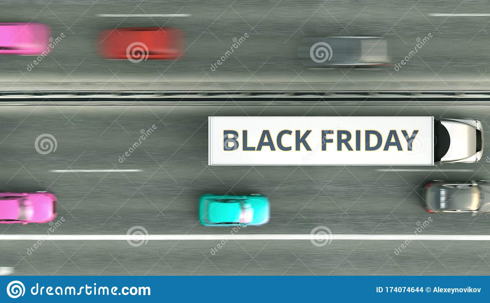 Aerial Overhead View Of Trailer Truck With Black Friday Text Driving Along The Highway 3d Rendering Stock Illustration Illustration Of Overhead Export 174074644