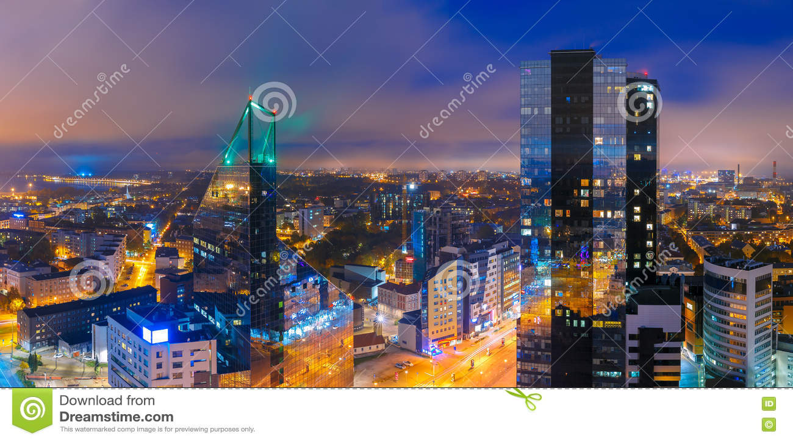 Aerial panorama city at night, Tallinn, Estonia