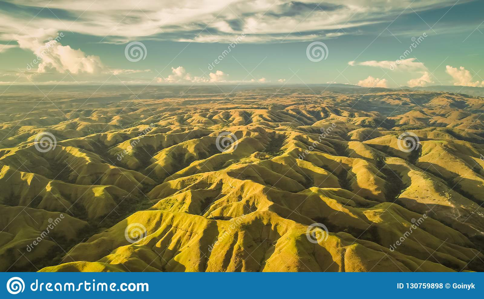 Aerial panorama green hills. Drone shot. Indonesia