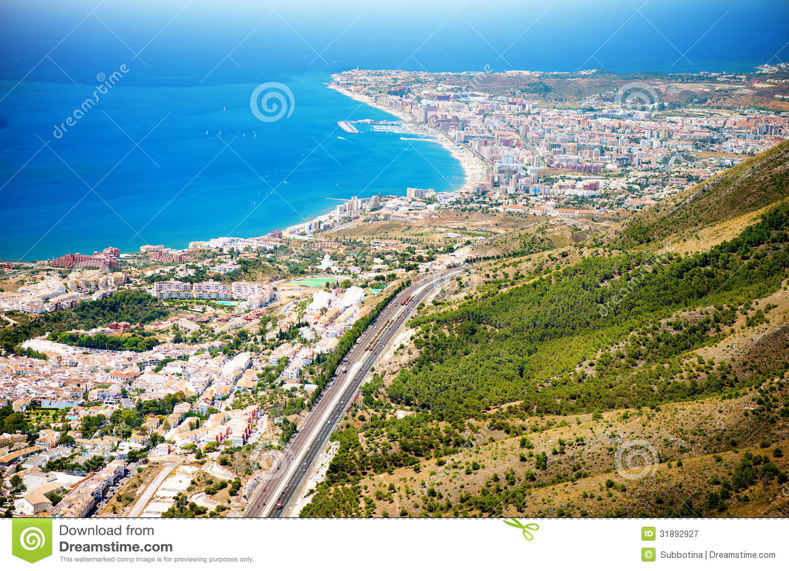 Aerial Panoramic View Of Costa Del Sol Royalty Free Stock