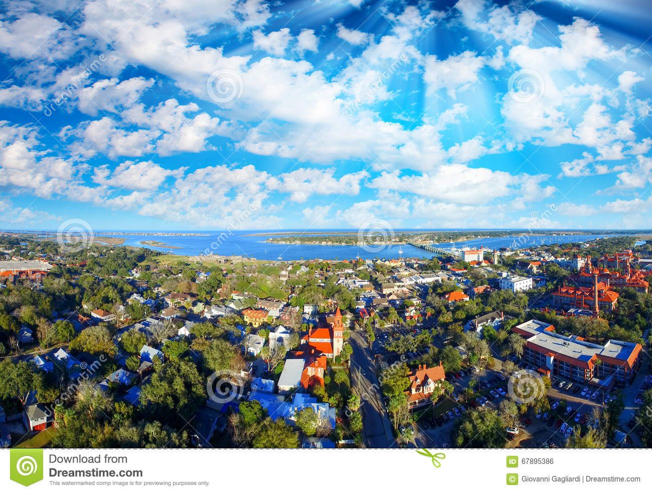 Aerial panoramic view of St Augustine, Florida
