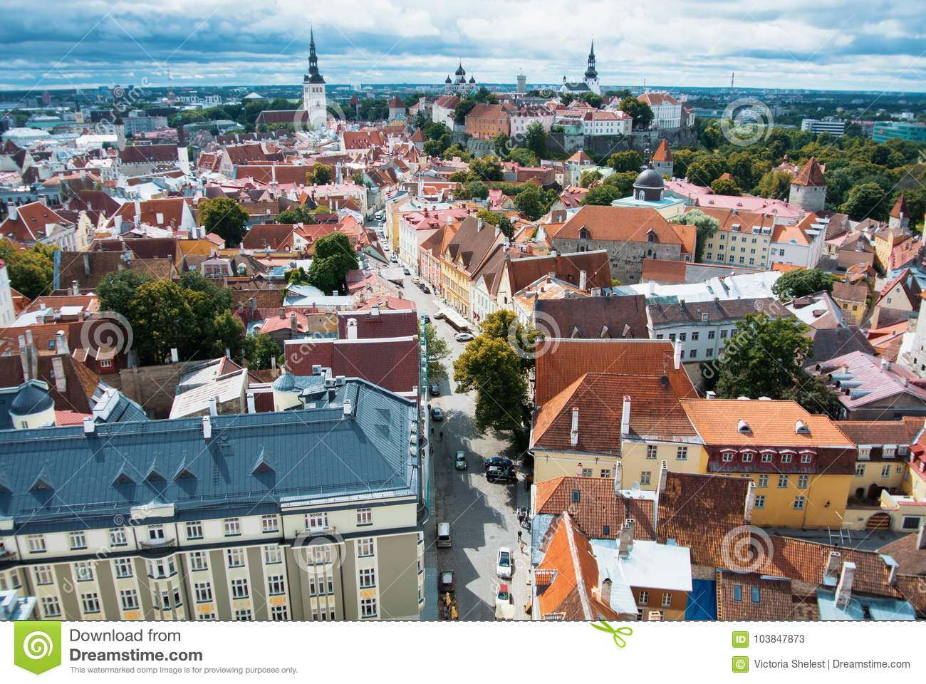 Aerial panoramic view of Tallinn old town city center and narrow