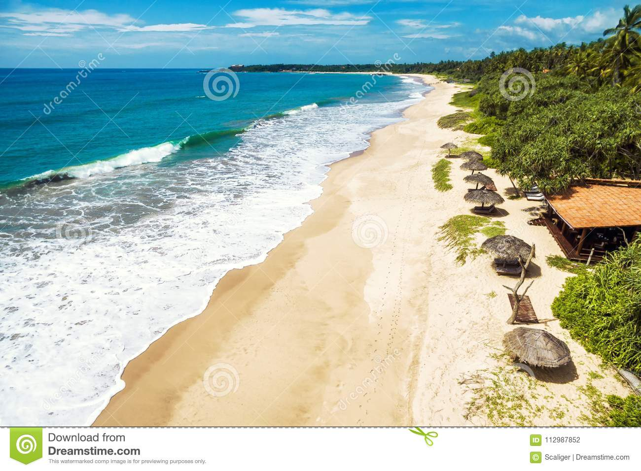 Aerial panoramic view of the tropical long beach, Sri Lanka