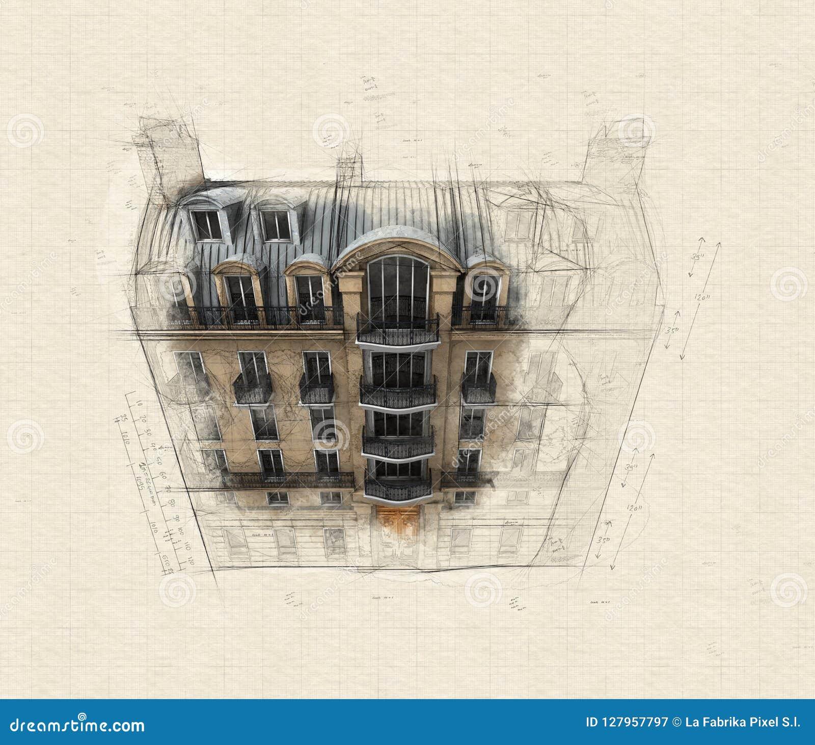 Aerial perspective of Parisian building