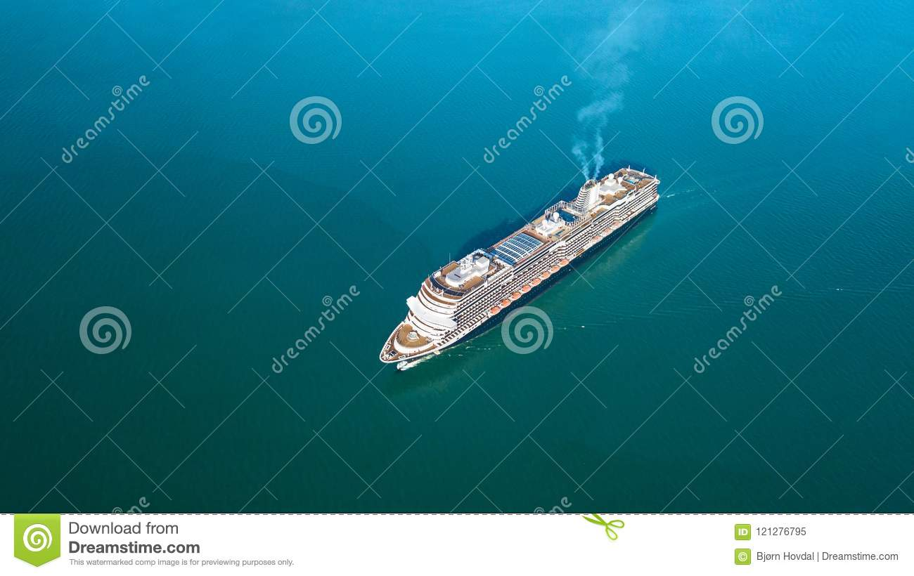 Download Aerial Photo Of A Cruise Ship Stock Image - Image of travel, tourism: 121276795