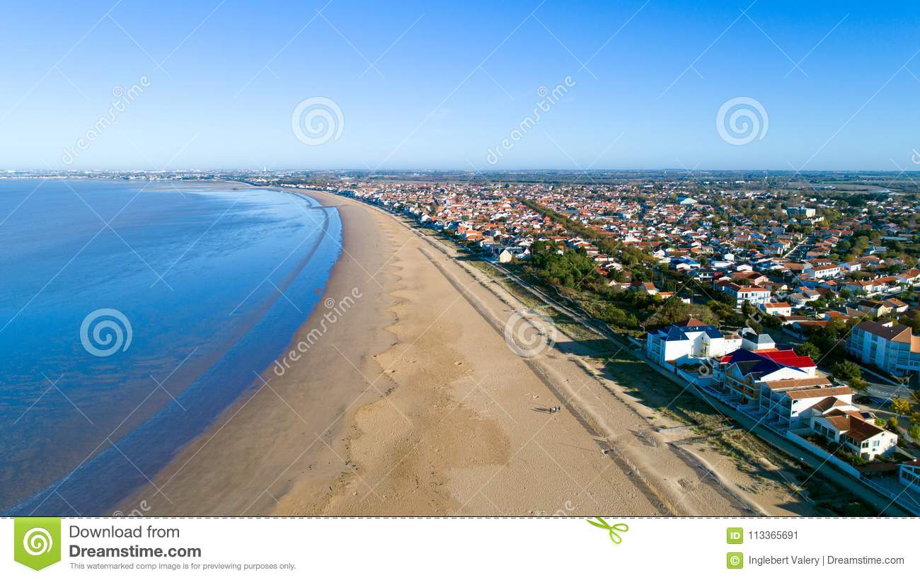 Aerial photo of Chatelaillon beach in Charente Maritime