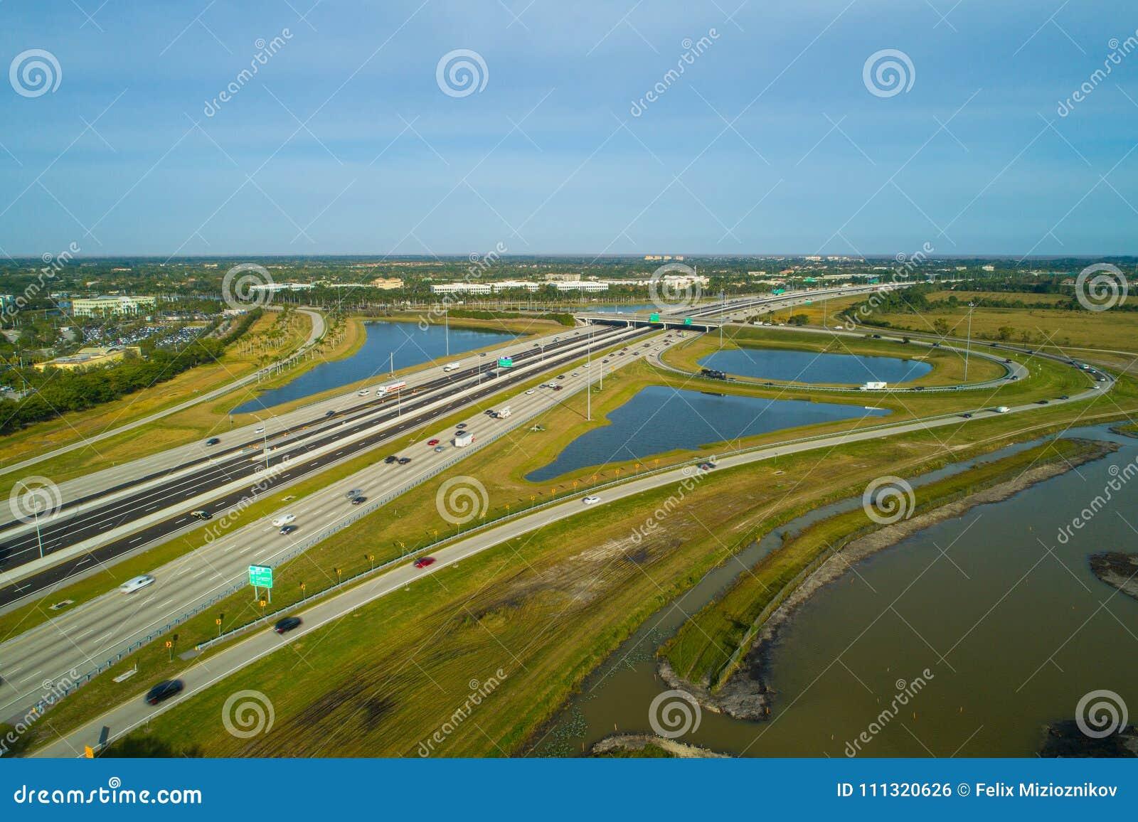 Aerial Photo Florida Turnpike Weston Florida Broward Stock