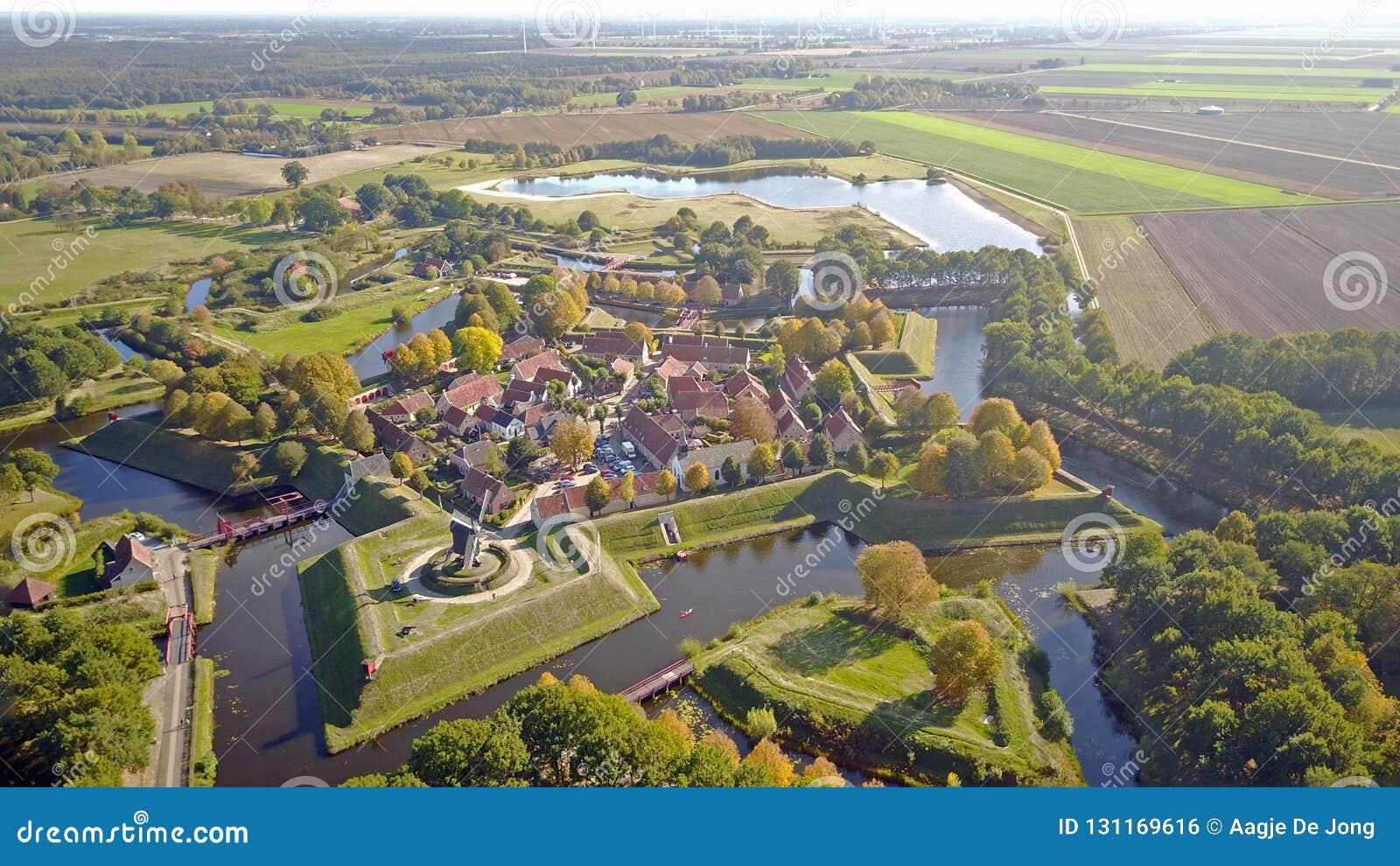 Groningen Weihnachtsmarkt.Aerial Photo Of Fort Bourtange In Groningen The Netherlands