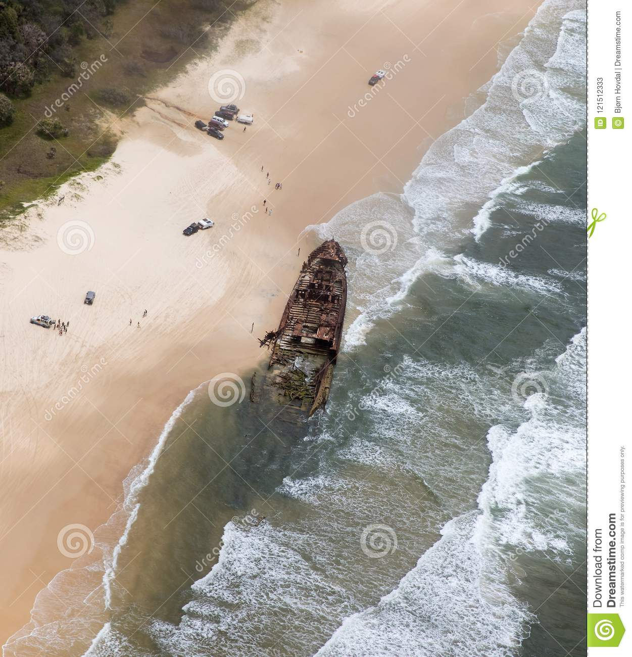Download Aerial Photo Of Fraser Island Ship Wreck. Stock Image - Image of near, waves: 121512333