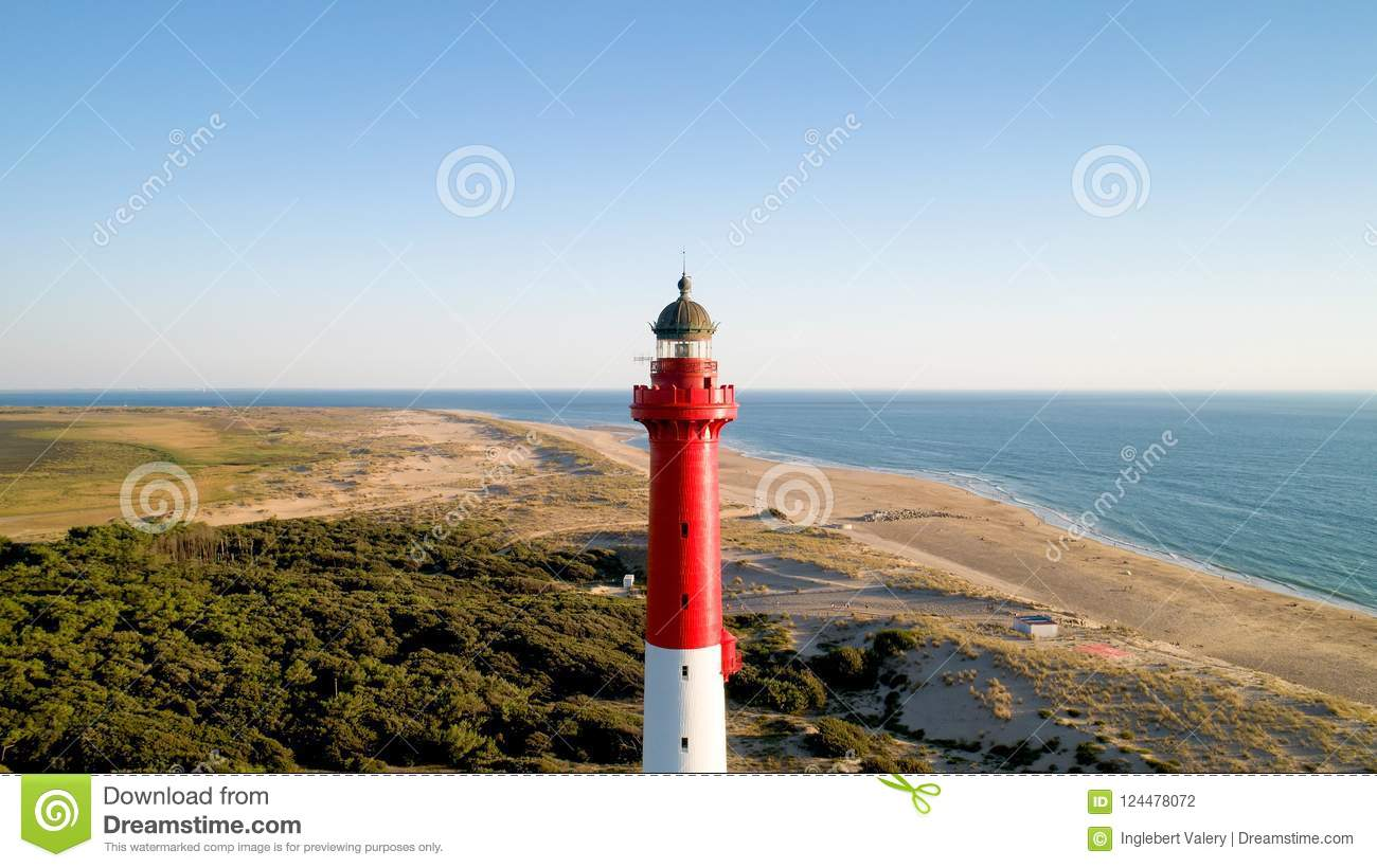 Aerial photo of lighthouse La Coubre in La Tremblade