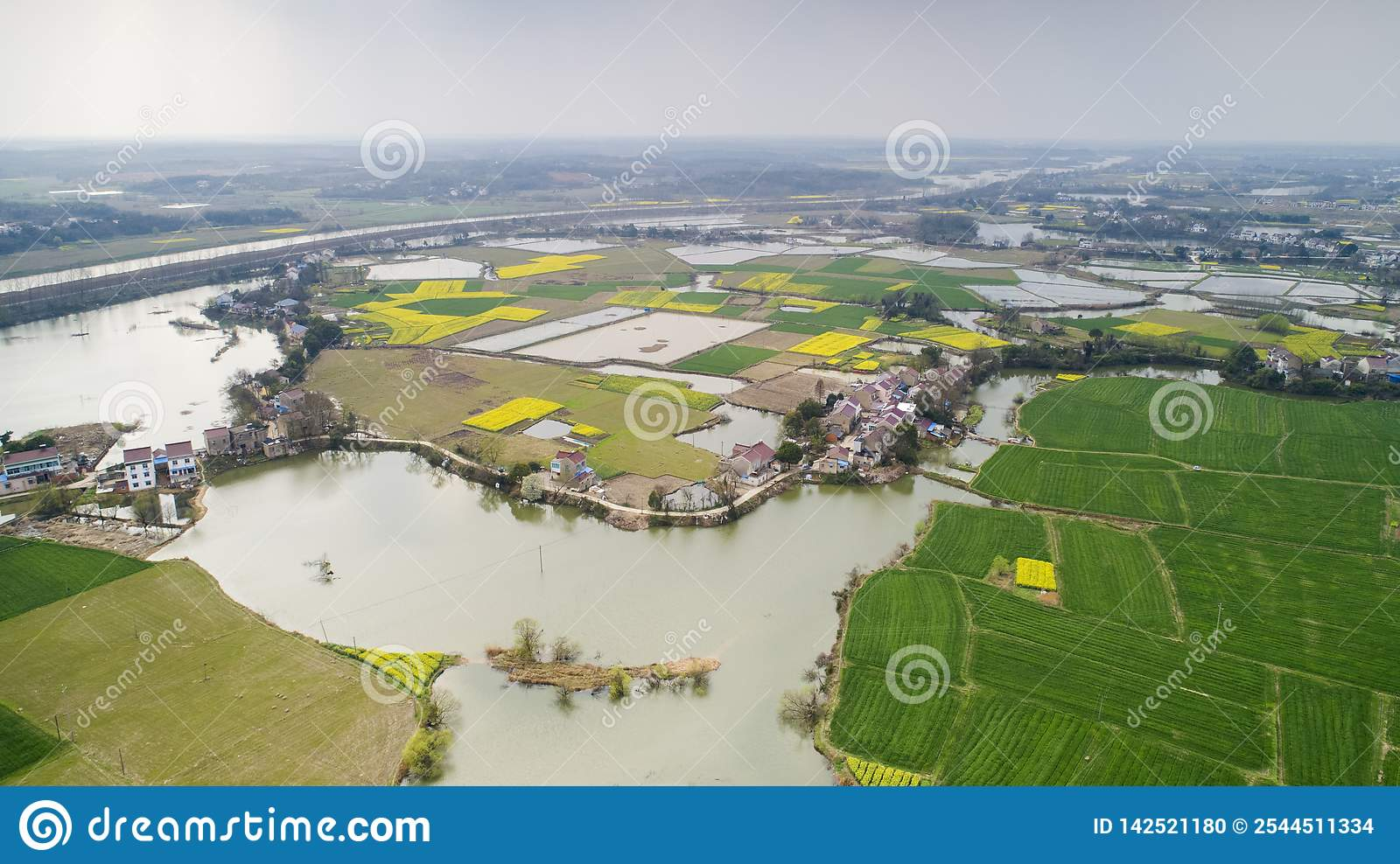 Aerial photo of summer rural ecological pastoral scenery in xuancheng city, anhui province, China