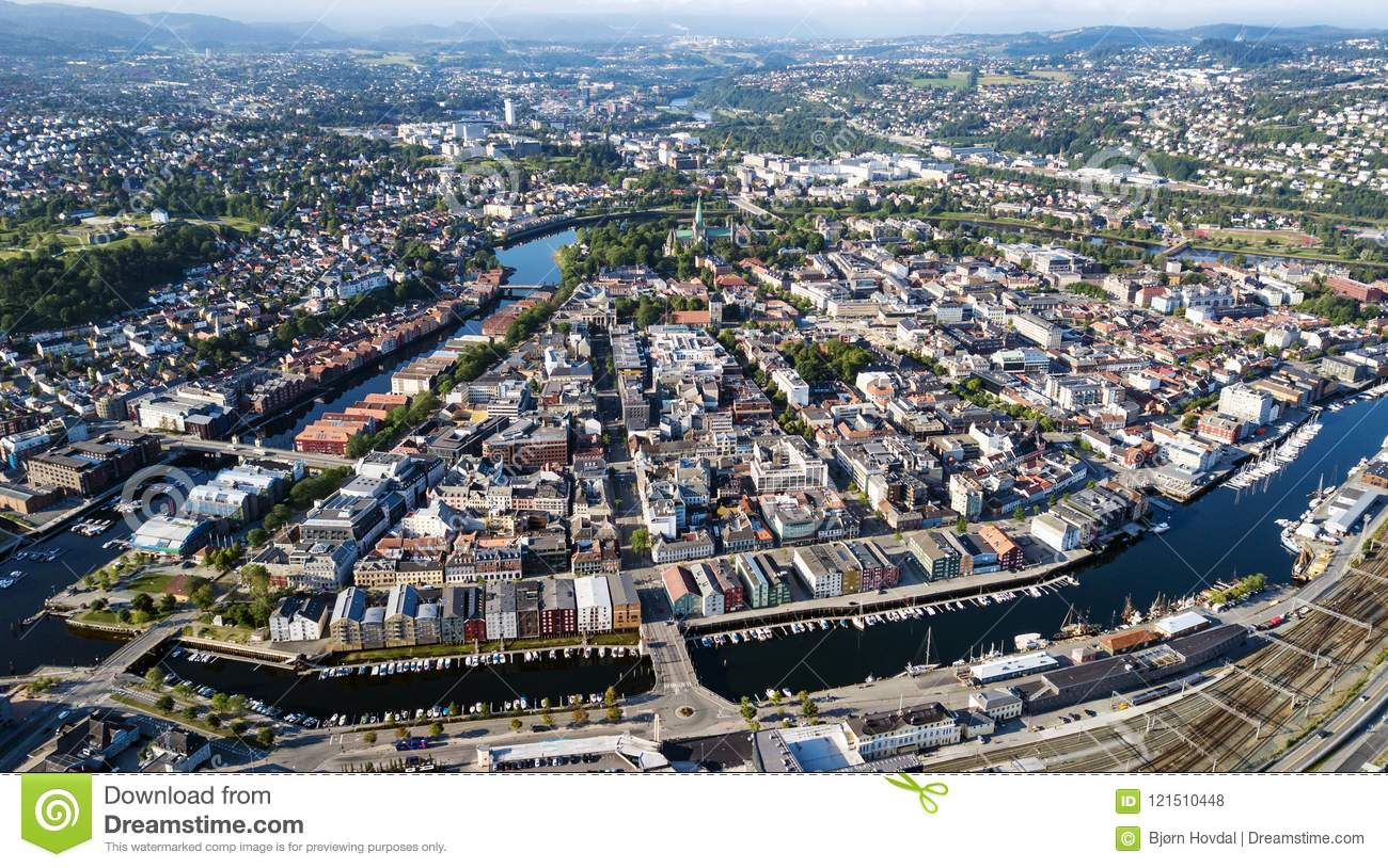 Download Aerial Photo Of Trondheim City, Norway Stock Photo - Image of cathedral, architecture: 121510448