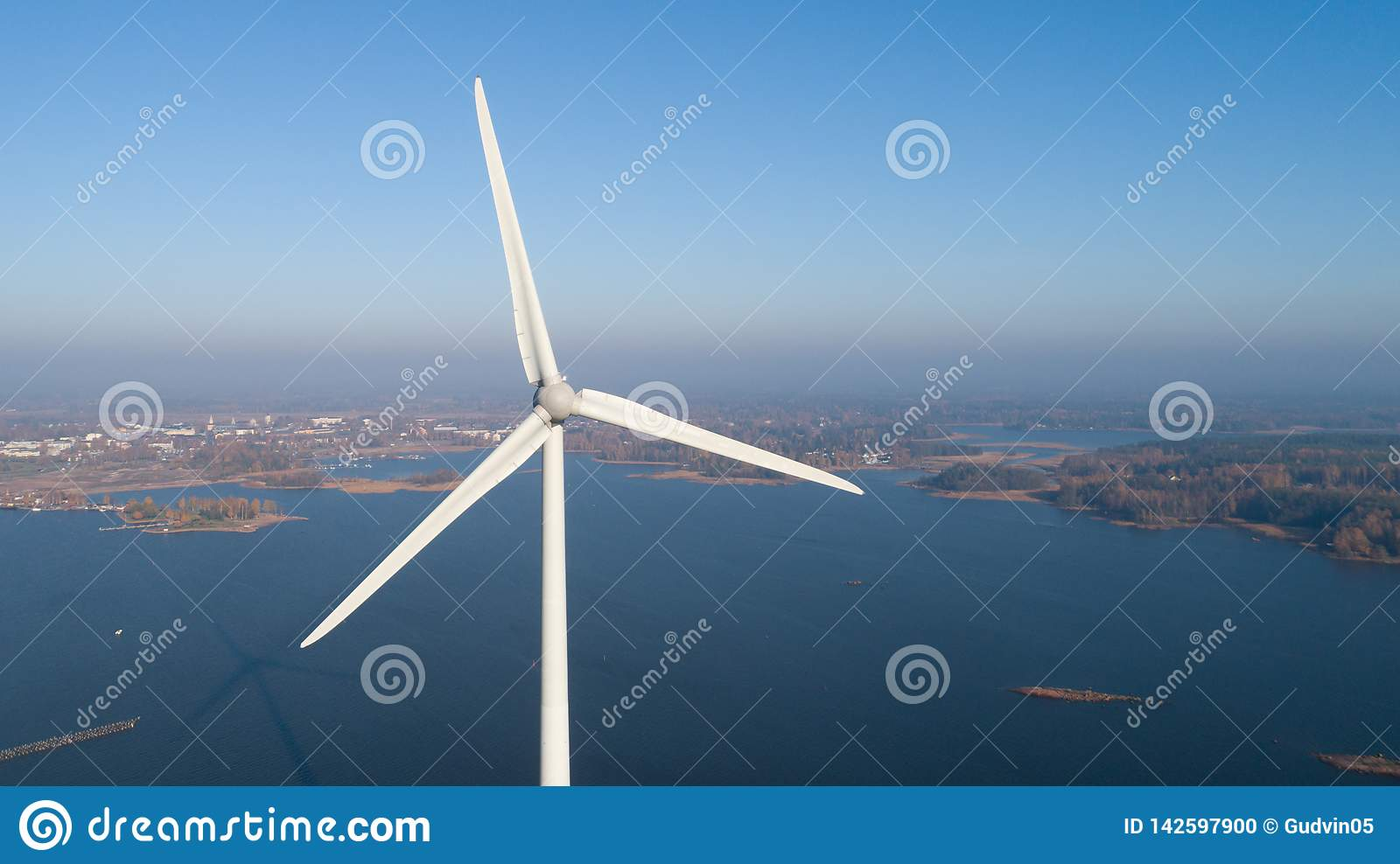 Aerial photo of wind turbine. Top view