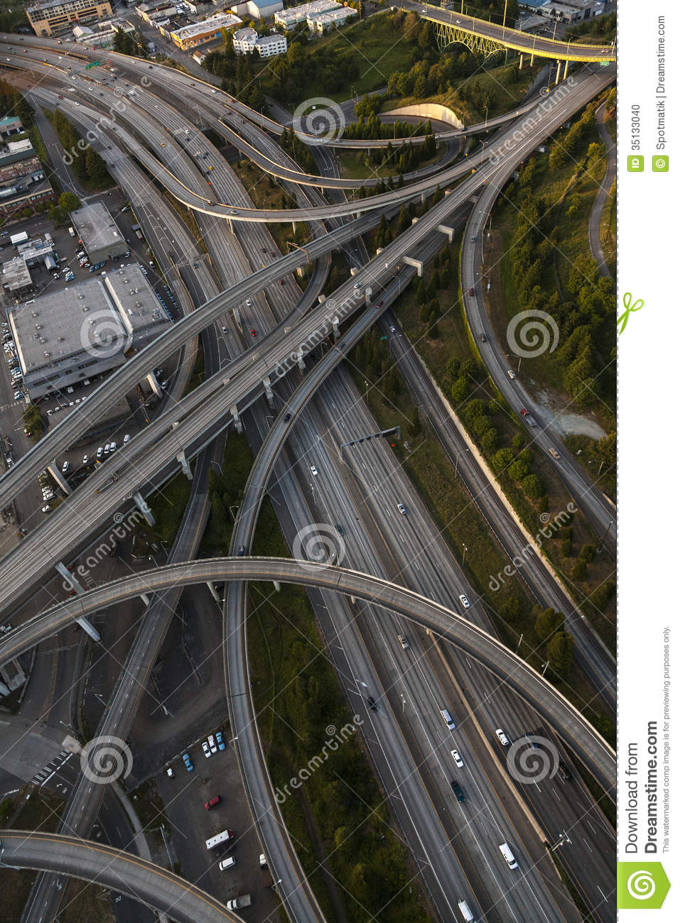 Aerial Photograph American Freeway Intersection Stock Photo ...