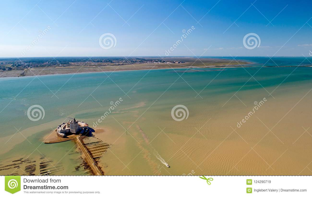 Aerial photography of Fort Louvois and Oleron island in Charente Maritime