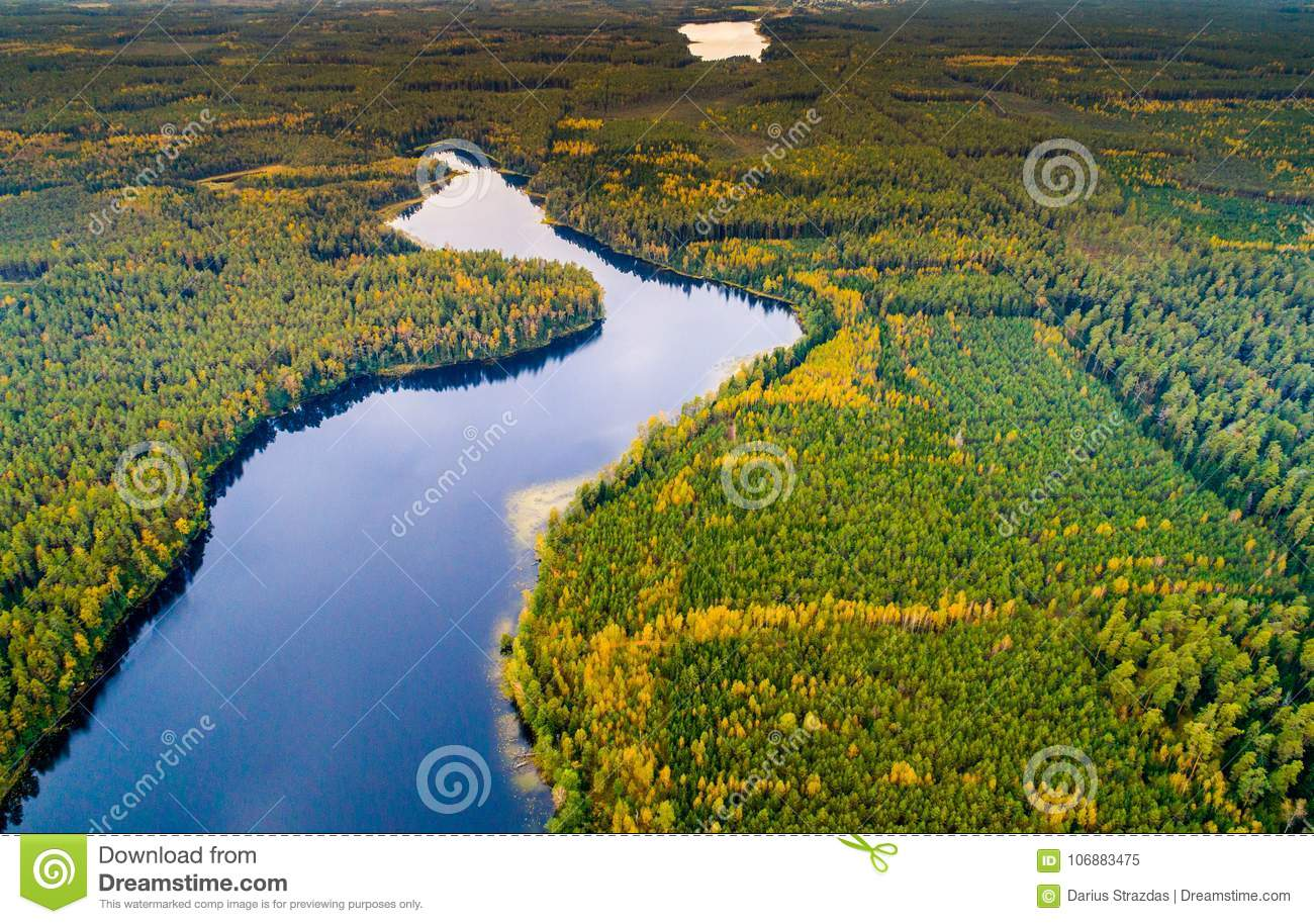 Aerial photography, scenic lakes view