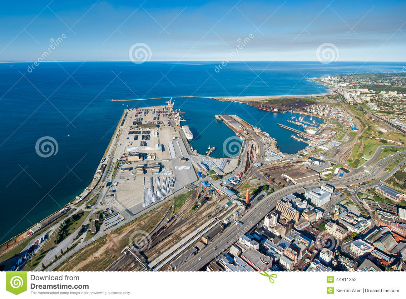 Aerial of port elizabeth harbour south africa stock photo - What to do in port elizabeth south africa ...