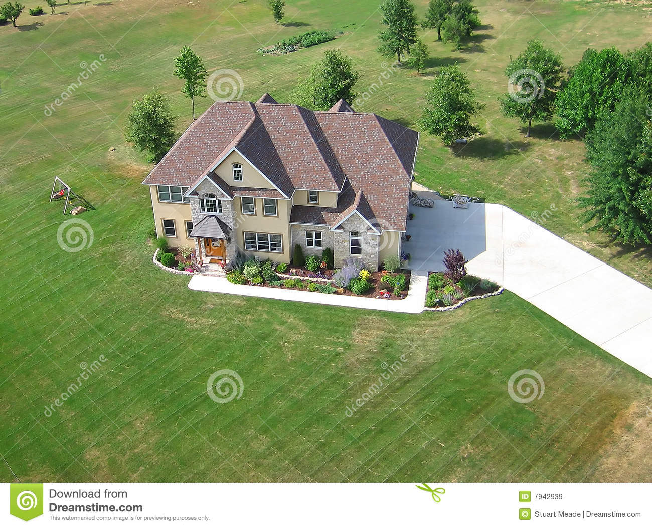 Aerial of residential house royalty free stock images for Residential house pictures