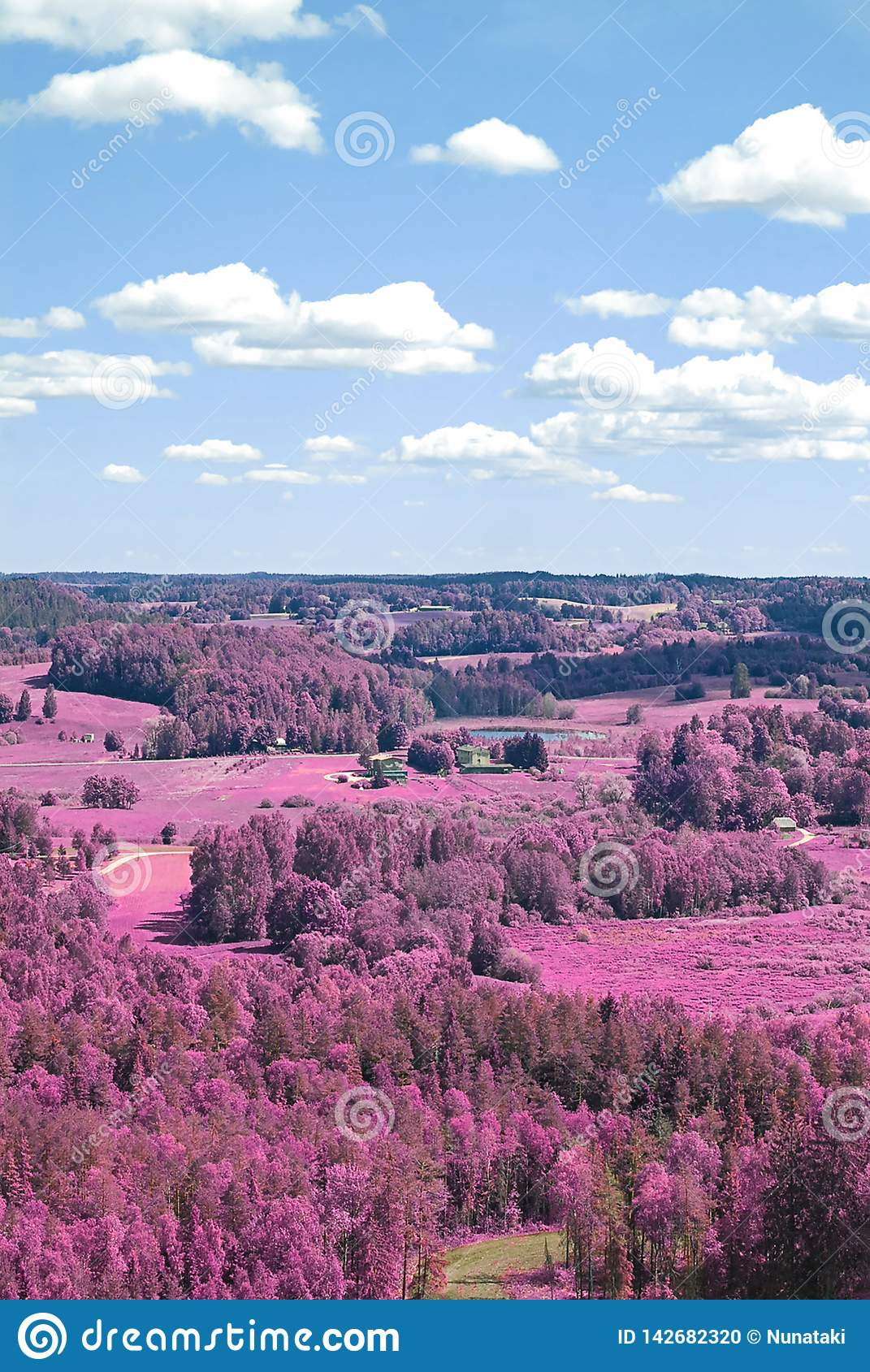 Aerial scenic view from drone with infrared camera effect of natural landscape