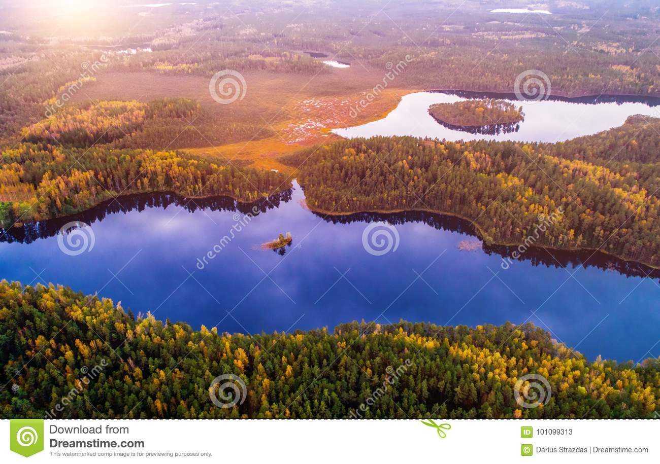 Aerial scenic view of lakes nature