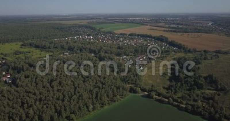 Aerial shot of houses in township on the river in Kiev 4k 4096 x 2160 pixels.  stock video