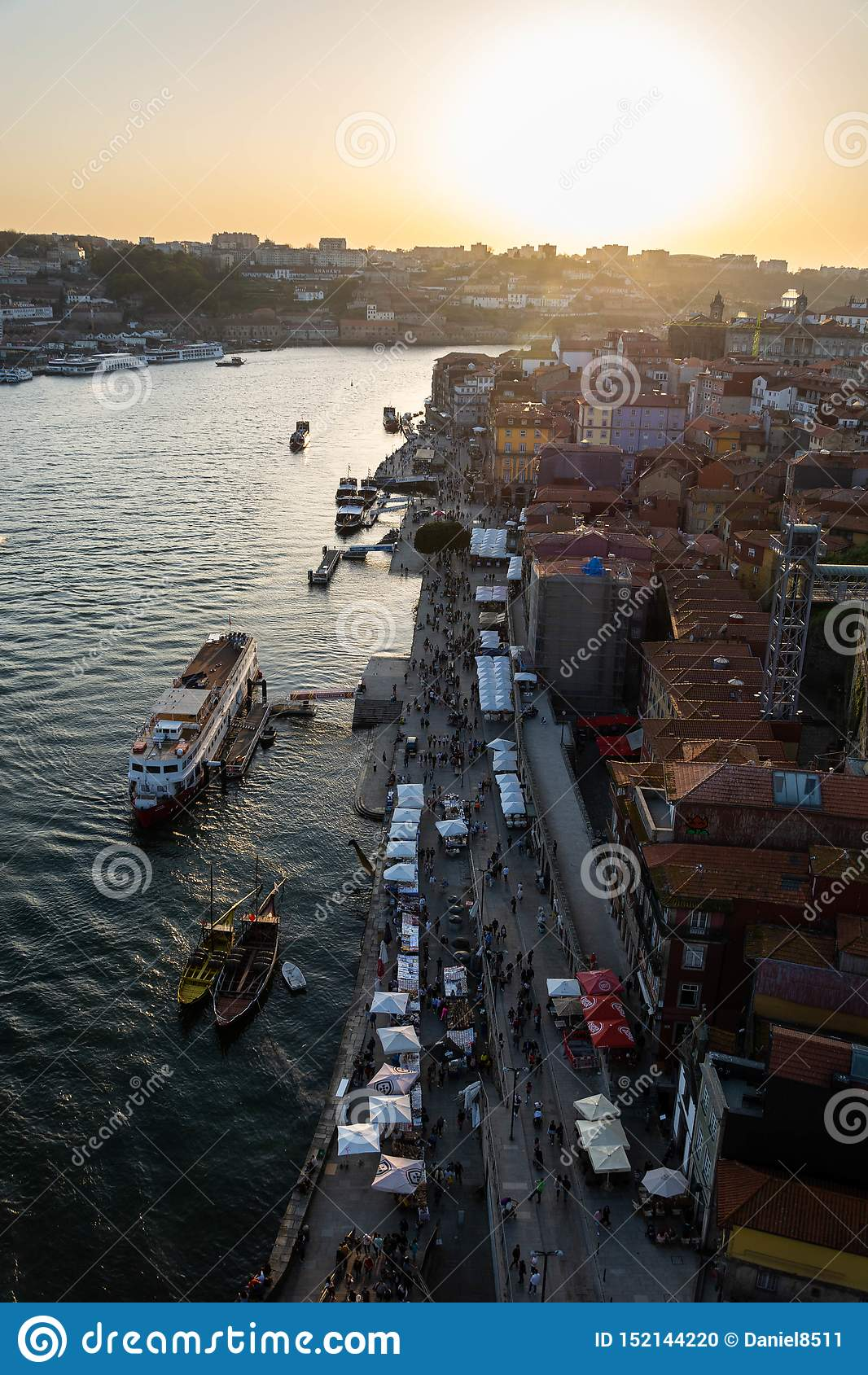 Aerial shot of Ribeira and Douro river, Porto, at sunset