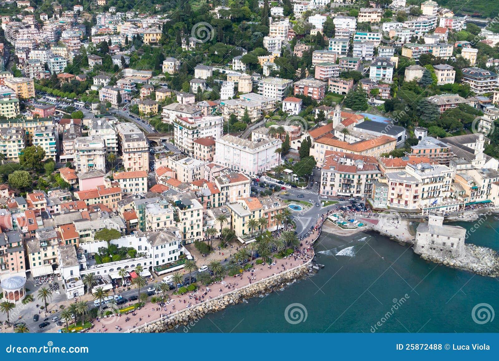 Aerial Sightseen Of Rapallo Italian Sea Town Royalty Free Stock