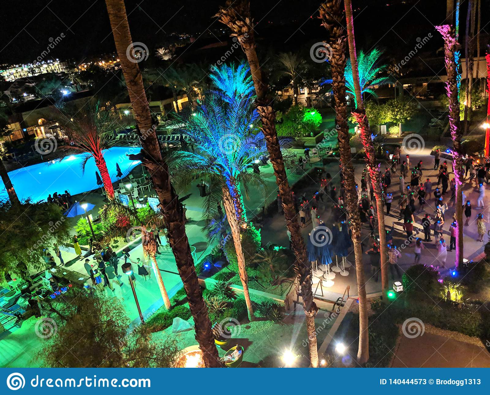 Aerial of Silent Disco Dance party at Music festival Wanderlust yoga event